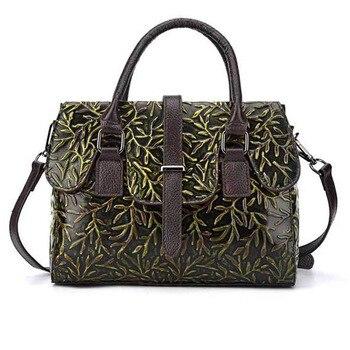 Women trend Embossed Handbag Genuine Leather Cross Body Messenger Bags  Vintage Ladies  Shoulder Bag Leather Bag