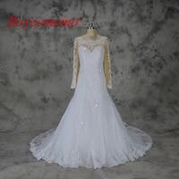 Royeememo 2017 New Design Long Sleeve Skin Color Tulle Top Wedding Dress Hot Sale Bridal Dress