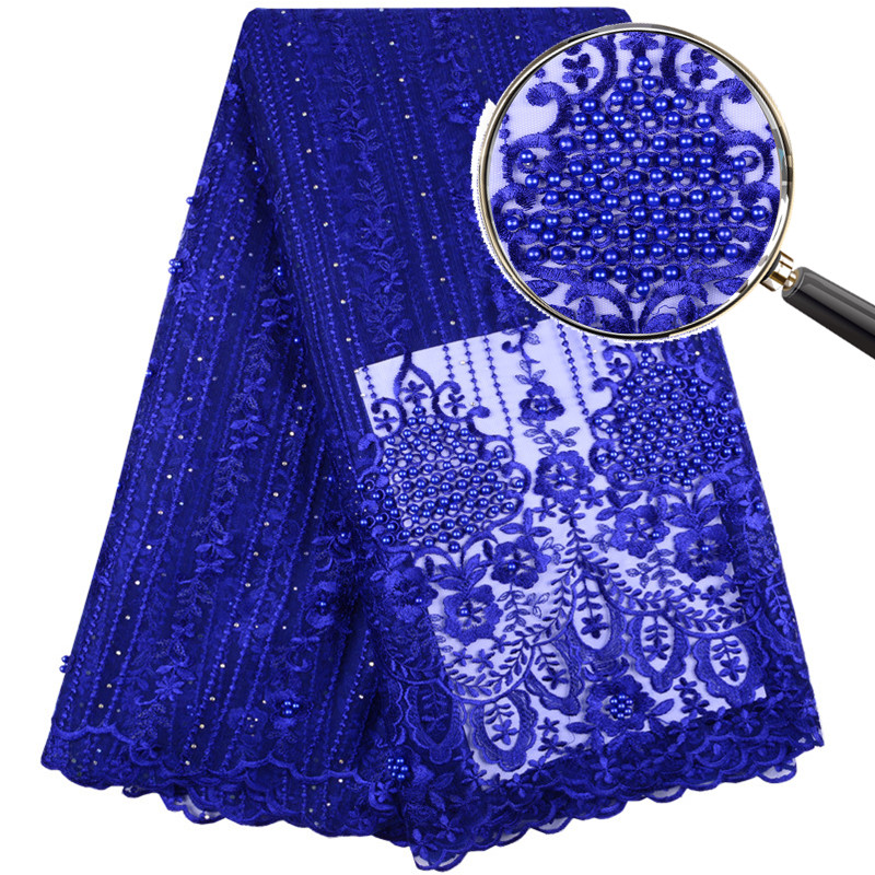Latest Design African Cord Lace French lace fabric 2019 High Quality Nigerian Blue Voile Tulle Mesh