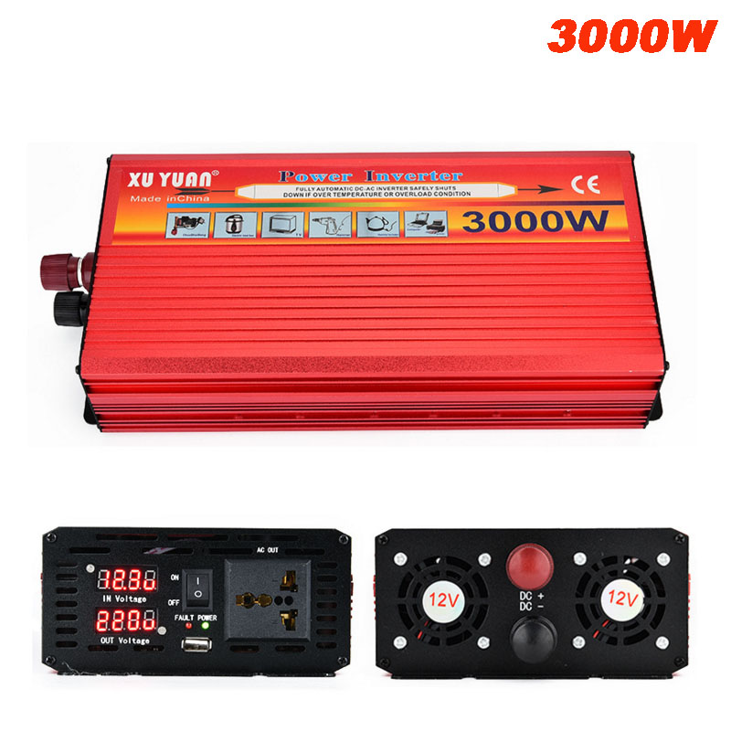 3000W Car Power Inverter DC 12V / 24V To AC 220V  LED Display Car Charger Converter 12 / 24 Volts To 220 Volts