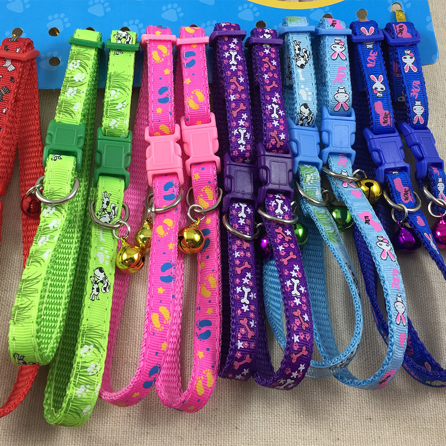 12pcs/lot Adjustable Nylon Dog Puppy Pet Cat Collars Necklace Neck Bell S M L XL Four Sizes