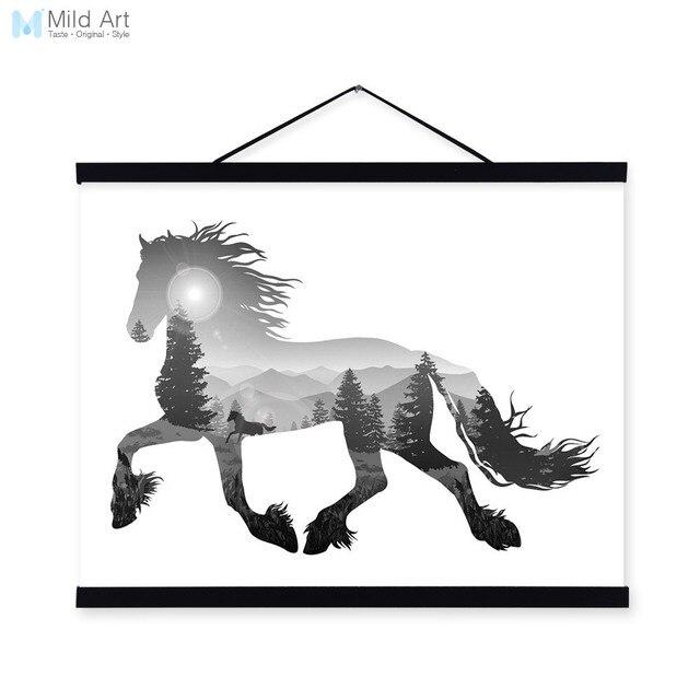 Running Horse Black White Nordic Minimalist Animal Silhouette Framed ...