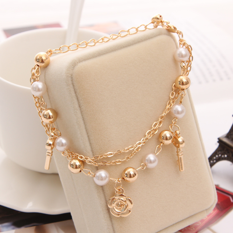 Hesiod Women Link Bracelets 3 Layers Rose Key Pendant Imitation Pearl Beads Chain Fashion Bangle For In Charm From Jewelry Accessories