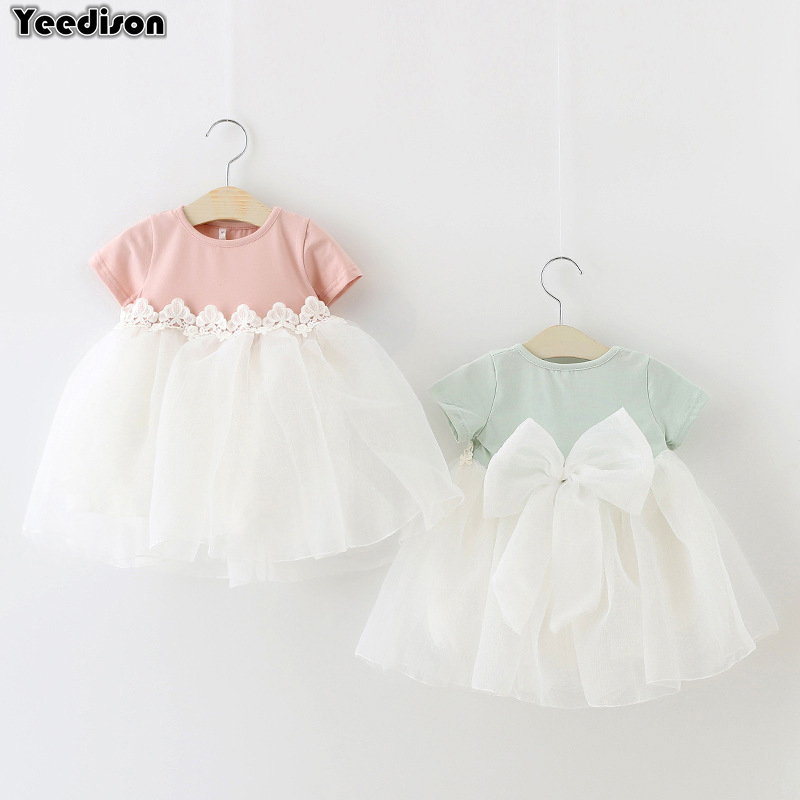 Baby Dresses 2018 Summer Cotton Newborn Christening Dress For Baby Girl 1st Birthday Princess Party Dress Big Bow Infant Outfits