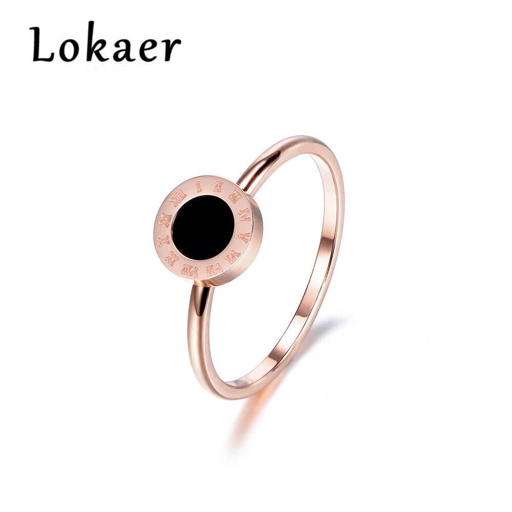 Lokaer Classic Titanium Steel Resin Fine Jewelry Brand Roman Alphabet Ring Bridal Wedding Engagement Ring For Women R180020200R