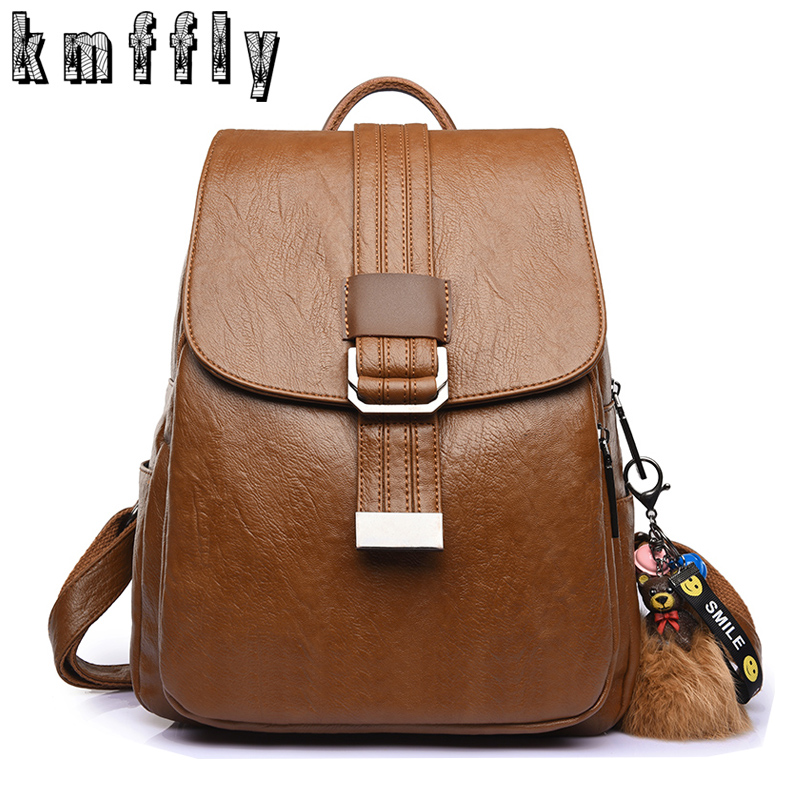 купить 2018 NEW Women Backpack Vintage Brown School Bags for Teenagers Pu Leather Backpack Sac A Dos Women Bagpack Mochila Escolar по цене 1444.95 рублей