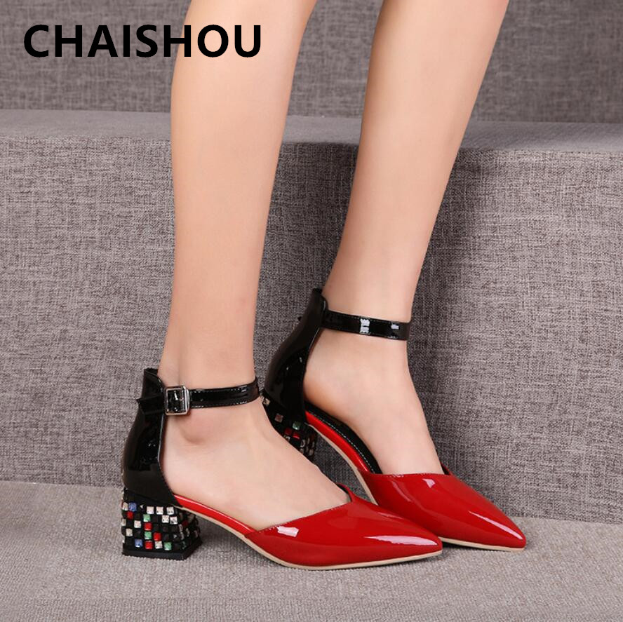 CHAISHOU 2019 New Summer women Fashion pointed thick with rhinestone womens shoes color matching sandals krasovki Famela B-481CHAISHOU 2019 New Summer women Fashion pointed thick with rhinestone womens shoes color matching sandals krasovki Famela B-481