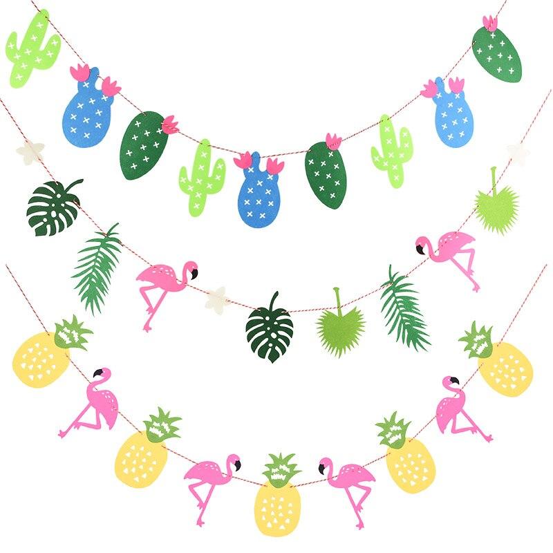 ハワイパーティールアウフラミンゴパーティーフラミンゴバナー花輪装飾パイナップル夏パーティー誕生日ハワイアンパーティーの装飾