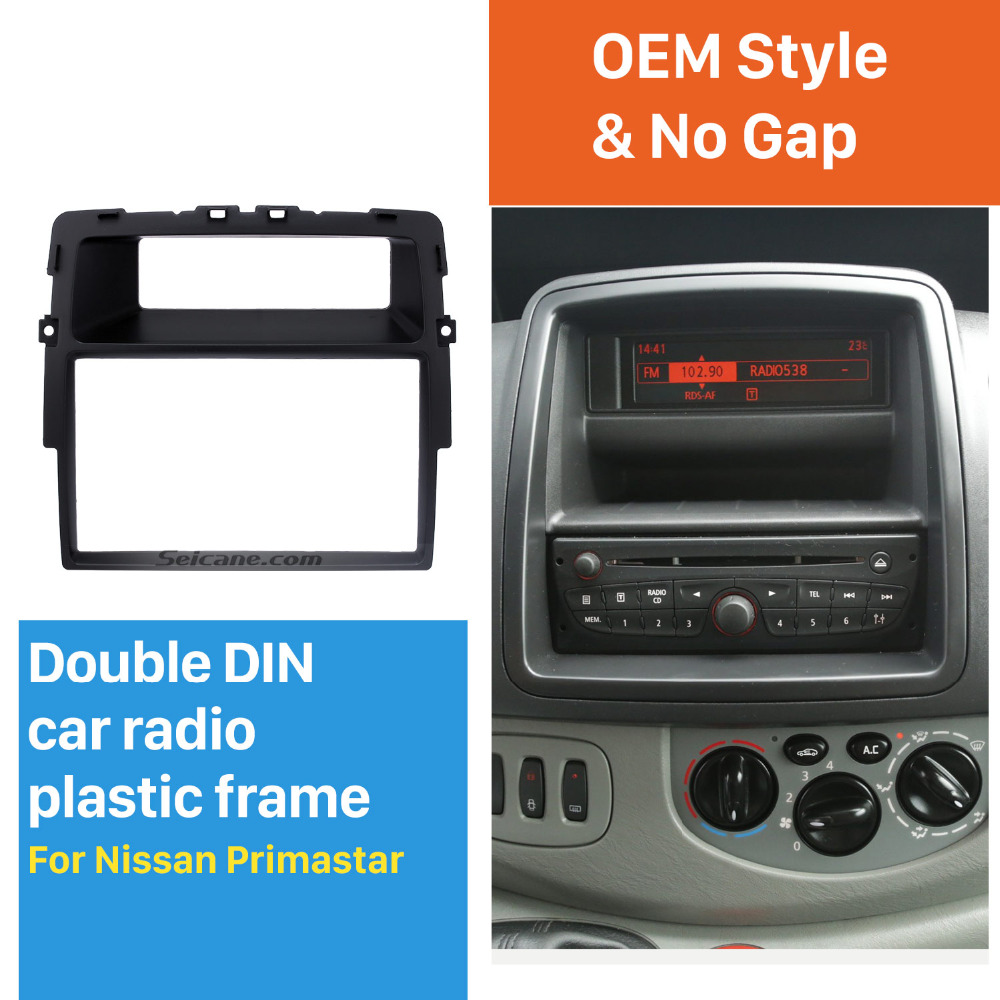 medium resolution of seicane black double din car radio fascia for nissan primastar fitting kit installation frame panel dvd