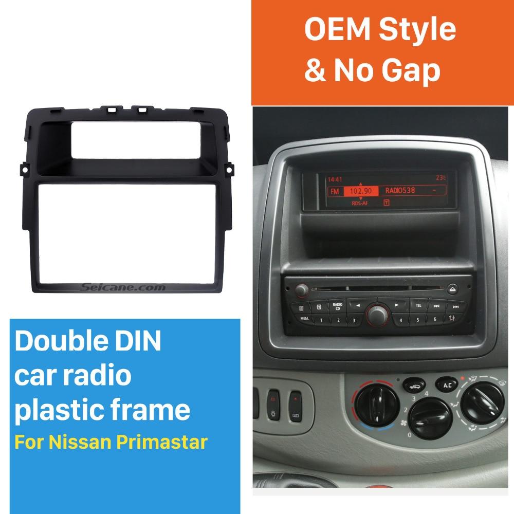 Seicane Black Double Din Car Radio Fascia for Nissan Primastar Fitting Kit Installation Frame Panel DVD