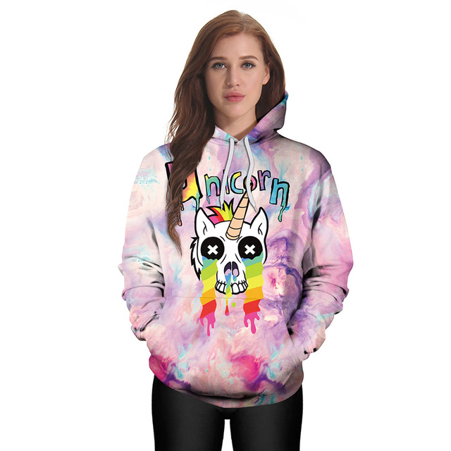 Harajuku Unicorn Skull Hoodie 3d Print Sweatshirt Women Punk Clothing