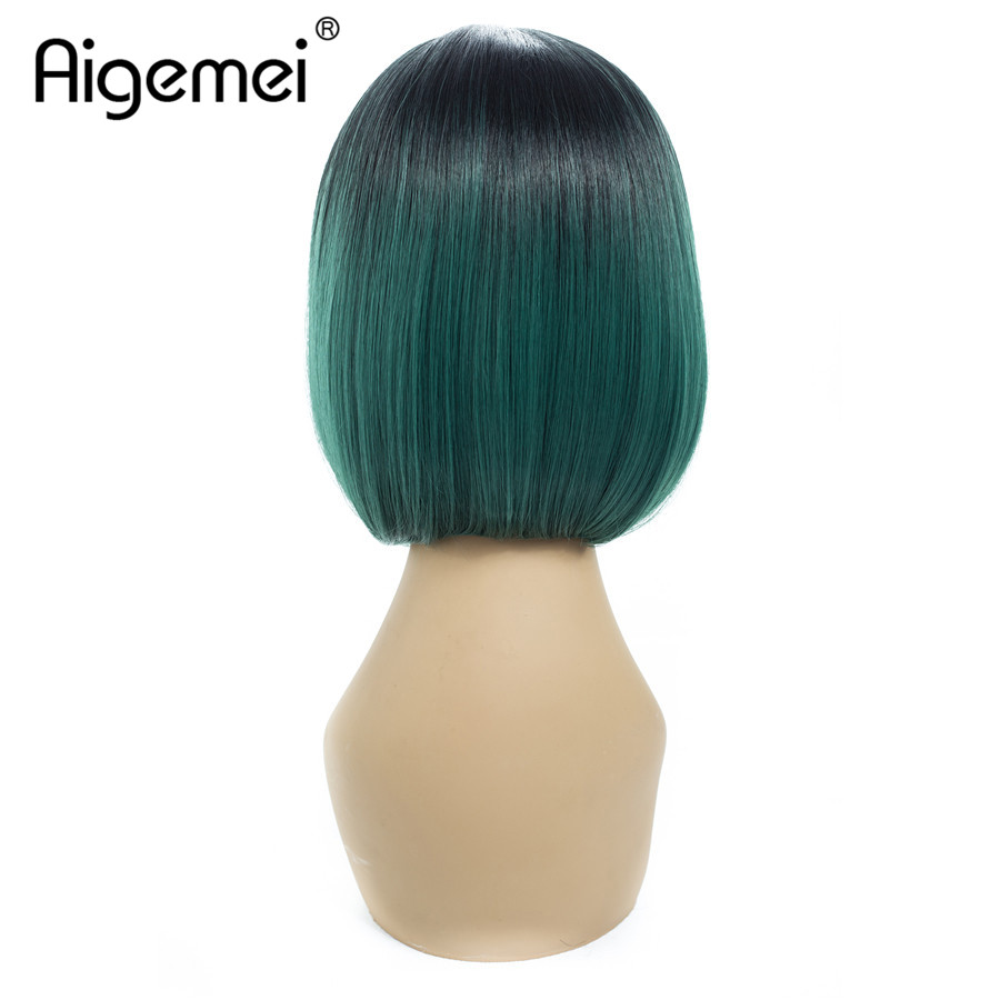 Aigemei 12 Inch Ombre Synthetic Fiber High Temperature Fiber Short Straight Women Bob Wig in Synthetic None Lace Wigs from Hair Extensions Wigs