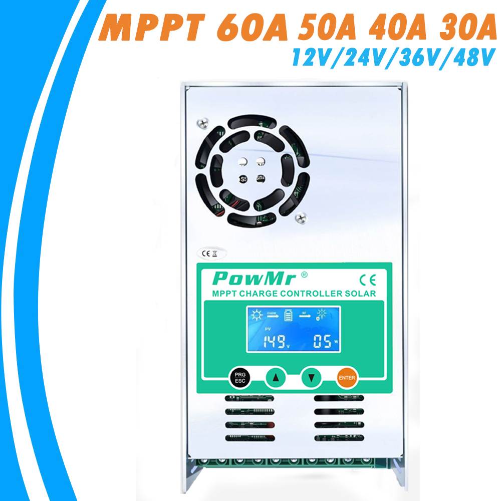 Contrôleur de Charge et de décharge solaire PowMr MPPT 60A 50A 40A 30A 12 V 24 V 36 V 48 VAuto pour batterie au Lithium au plomb PV 190VDC Max - 2