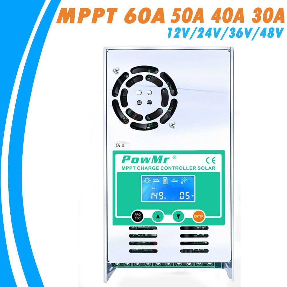 PowMr MPPT 60A 50A 40A 30A טעינה ופריקה שמש בקר 12V 24V 36V 48VAuto עבור מקסימום PV 190VDC עופרת חומצה ליתיום סוללה
