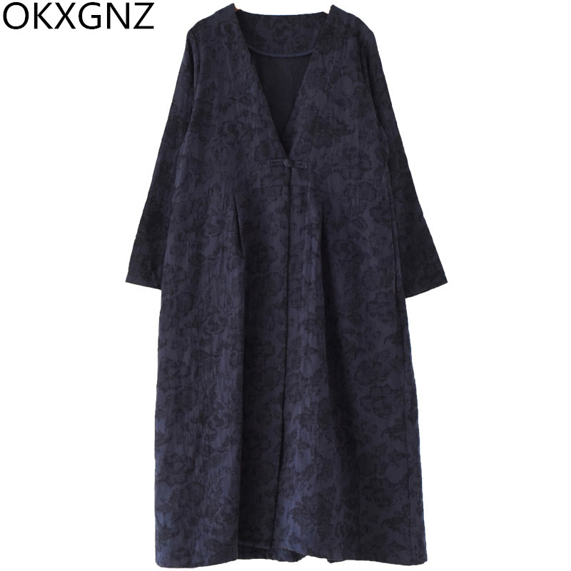 Autumn Loose Large Size Women's Cotton Windbreaker Original Ethnic Wind female Linen Jacquard Coat Personality Features Trench