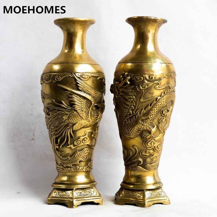 Moehomespair Of Chinese Vintage Brass Fengshui Dragon Phoenix Vase Vintage Home Decor Metal Handicraft In Figurines Miniatures From Home Garden