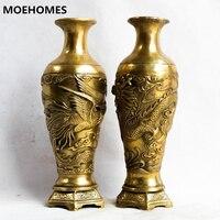 MOEHOMES+pair of Chinese Vintage Brass fengshui dragon phoenix Vase vintage home decor metal handicraft