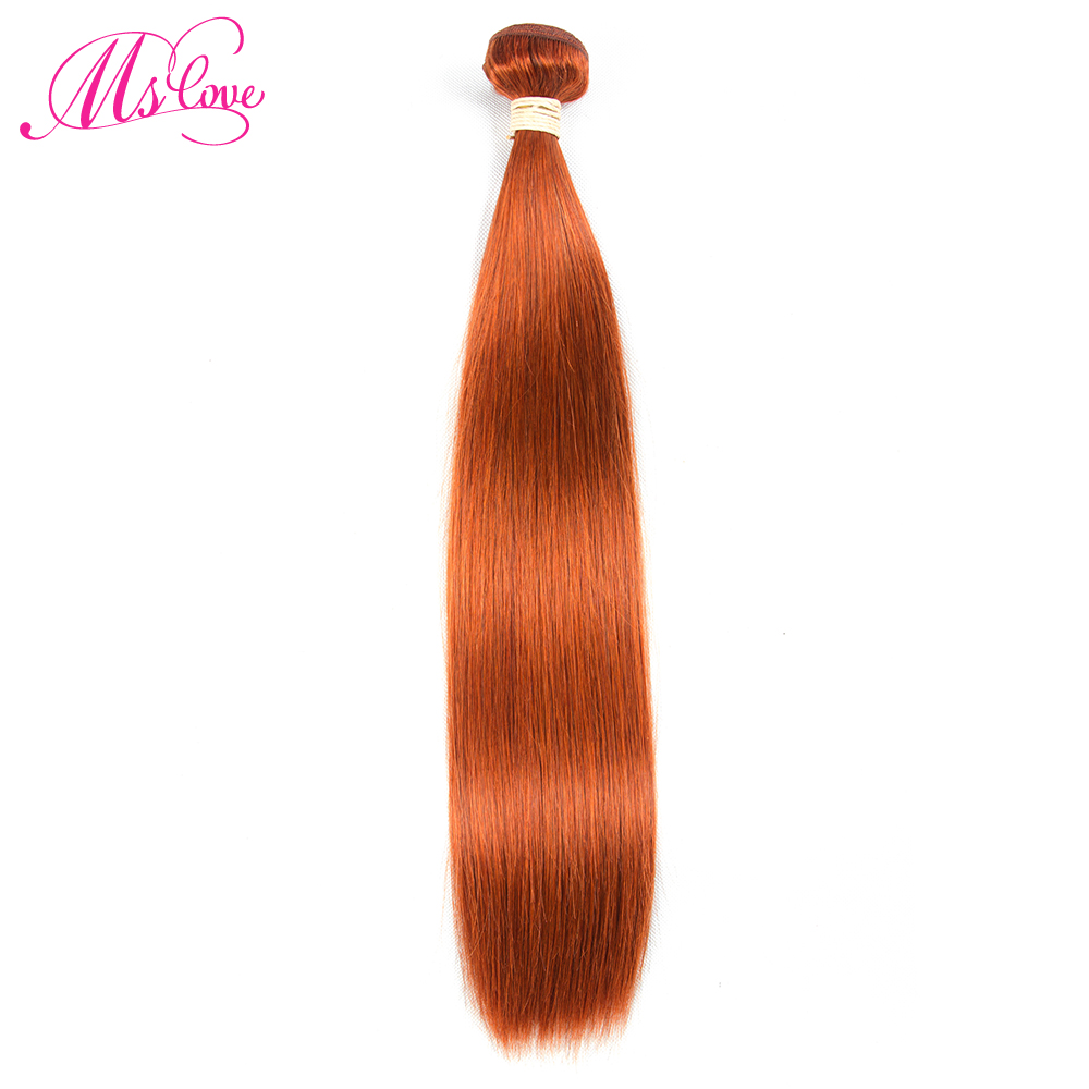 Ms Love Pre Colored #350 Orange P4/27 Brazilian Hair Straight Human Hair Bundles 1 Piece Non Remy Human Hair Extension 100 Gram