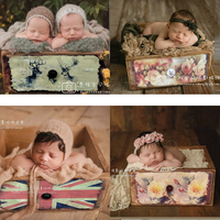 newborn baby photography prop basket infantile photography double side drawer 100 days infantile creative assist