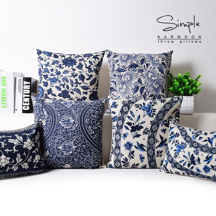 oriental floral cushion cover blue white chinese style throw lumbar pillow case sham linen decorative country ethnic decor gifts
