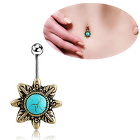 24 Pcs Retro Natural Turquoise Belly Button Navel Bar Ring Body Piercing Barbell Gift
