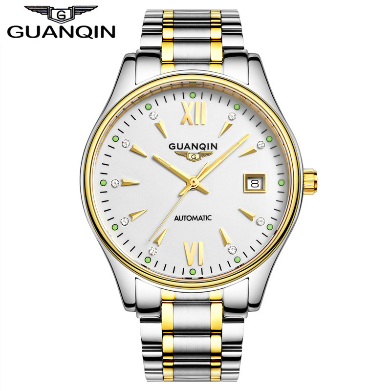 Original GUANQIN automatic mechanical watches men luxury brand sapphire Fashion Watch Waterproof full steel wristwatches man guanqin men automatic mechanical watch diamond waterproof sapphire watches steel men luxury top brand menb gold wristwatches