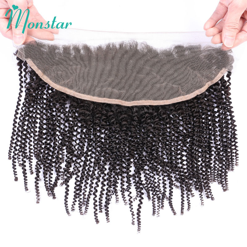 13x4 Ear to Ear Preplucked Frontal Human Hair Brazilian Afro Kinky Curly Lace Frontal Remy Hair