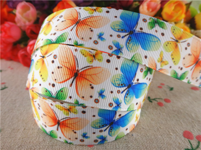 15060606, 1'' (25mm) 10 yards butterfly printed grosgrain ribbons cartoon ribbon hair accessories tape