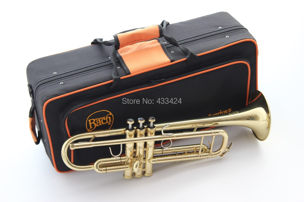 Bach  LT180-43  B flat professional trumpet bell gold Top musical instruments in Brass trompete trumpeter bugle horn trombeta trevor pi bach gold