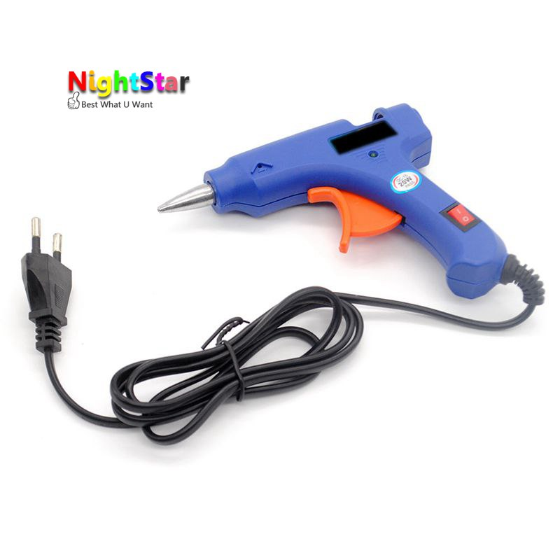 20W Hot Melt Glue Gun 7mm Glue Stick Industrial Mini Guns Thermo Electric Heat Temperature EU / US Plug / Power tool accessories newacalox industrial 150w eu plug hot melt glue gun with 1pc 11mm stick heat temperature tool guns thermo gluegun repair tools