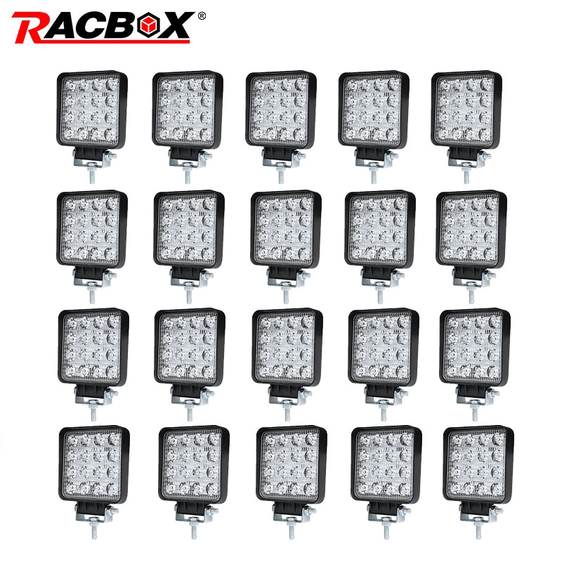 RACBOX Waterproof 4 inch 48W Floodlight Spotlight Led Work Light bar for Lada Off road ATV Motorcycle Truck 12V 24V Car Styling