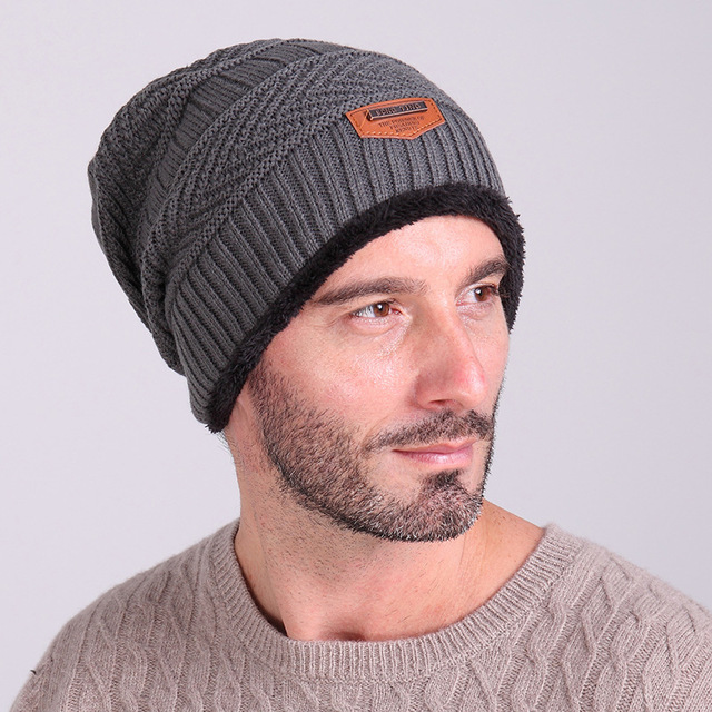 0d38a1284b7 New Winter Hat Knitted Mens Winter Cap 2017 Women Casual Solid Thick Warm  Plus Velvet Beanie
