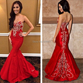 Mermaid Prom Dresses 2017 Sweetheart Sleeveless Off Shoulder Backless Sweep Train Chiffon Embroidery Sequins Evening Dress 2017