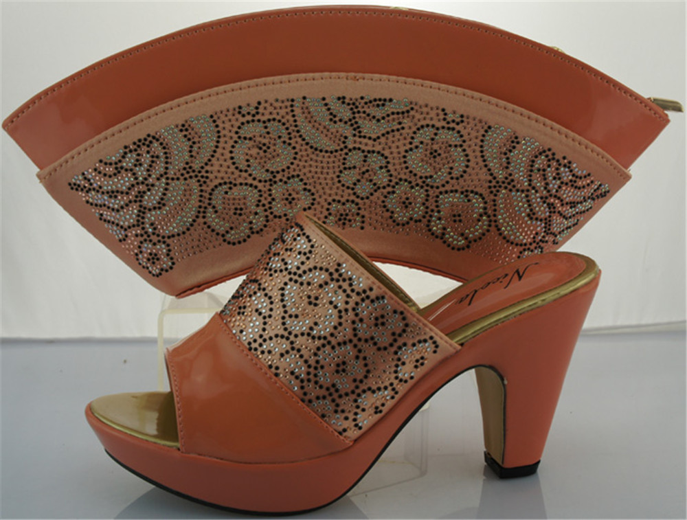 ФОТО Free shipping,Italian party shoes and bags/ME2212 Peach color for ladies wedding shoes and bag to matching size 38-42.
