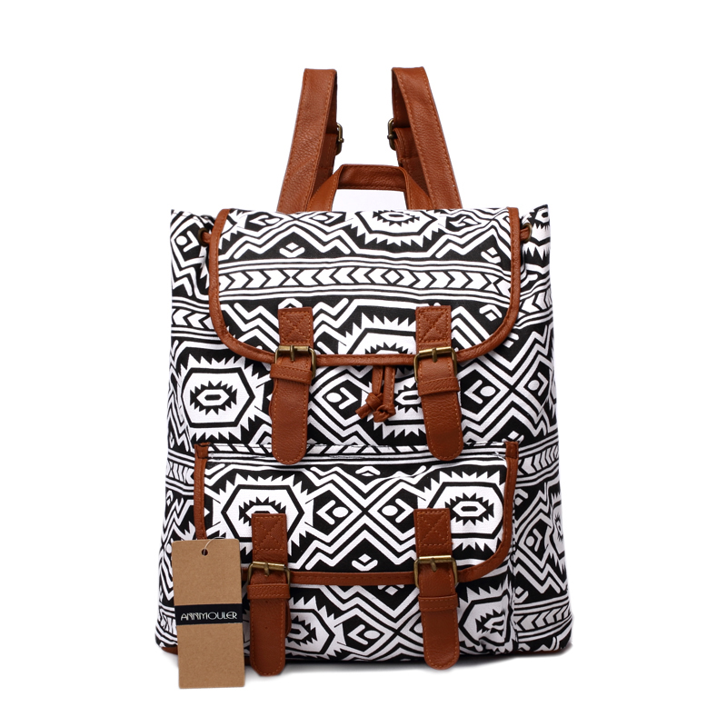 Fashion Backpacks Women Canvas Backpack Bohemian Style Travels Bag Large Capacity School Bag for Girls Laptop Rucksack Bag new fashion simple style students canvas shoulder bag large capacity backpack change pouch four sets for girls boys