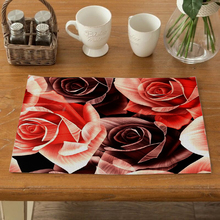 Printed Fabric Flower Pattern Dining Table Placemat Kitchen Decoration Mat Linen Heat Insulation Cup Tableware Pad