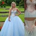 2017 Nova Luz Azul Vestidos Quinceanera Querida Por 15 Ano Vestidos De Baile meninas Bling Bling Lantejoulas Top Meninas Prom Party vestidos