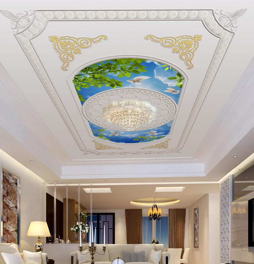 European style 3d Ceiling Pattern Blue sky and white clouds Relief 3d Wallpapers Photo Ceiling Wall Mural Living Room Bedroom blue sky and white clouds ceiling murals wallpaper living room bedroom hotel 3d ceiling wallpaper background
