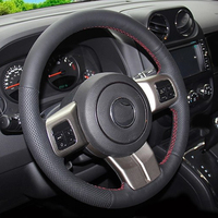 Cowhide Top Layer Leather handmade Sewing Steering wheel covers protect For Jeep Compass Grand Cherokee Wrangler Patriot