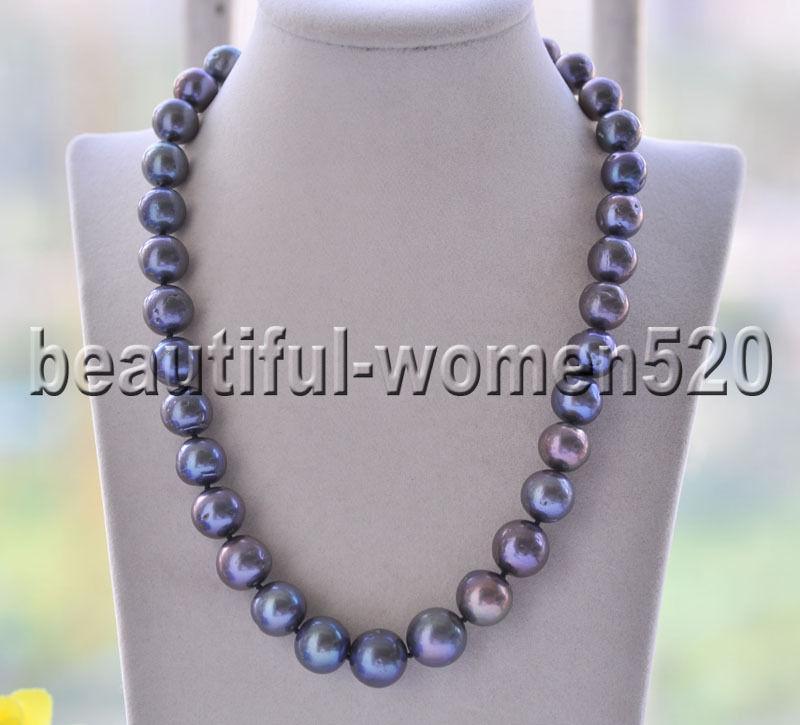 Z8754 15mm Black Round Keshi Edison PEARL Necklace Swan CZ 19inch цены онлайн