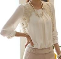 New 2016 Summer Style Embroidery Long Sleeved Chiffon Shirt Lace Blouse Lady Casual Women S Clothing