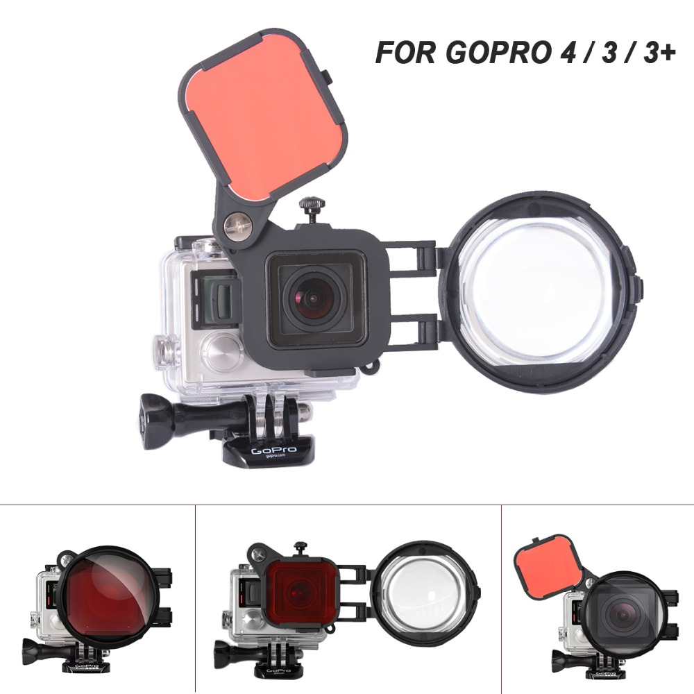 Diving Red Filter for Gopro Hero 5 6 7 Black Camera Waterproof Housing Case 58mm HD Macro Lens Close-Up 24X Filter Flip Adapter