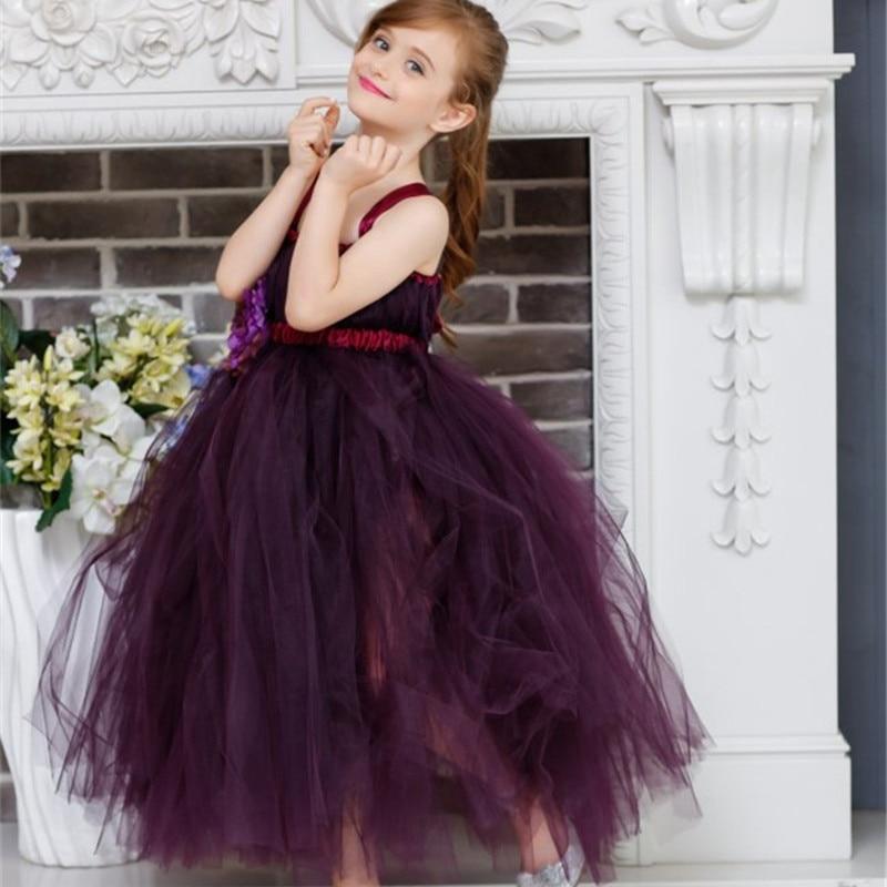 New Purple Tulle Tutu Dress Flower Girl Dresses Princess Handmade Kids Pageant Dance Wedding Birthday Bridesmaid