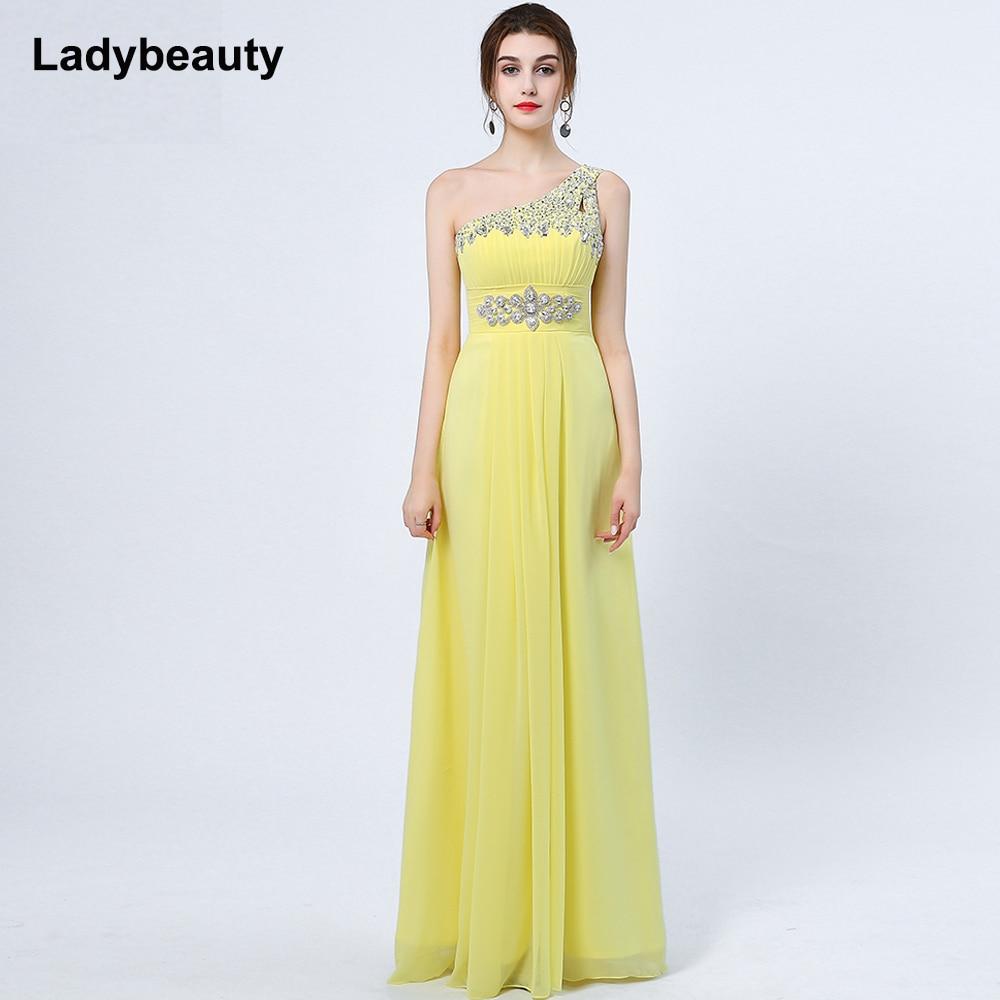 Ladybeauty 2018 New Elegant One-Shoulder A-Line långa - Särskilda tillfällen klänningar - Foto 4