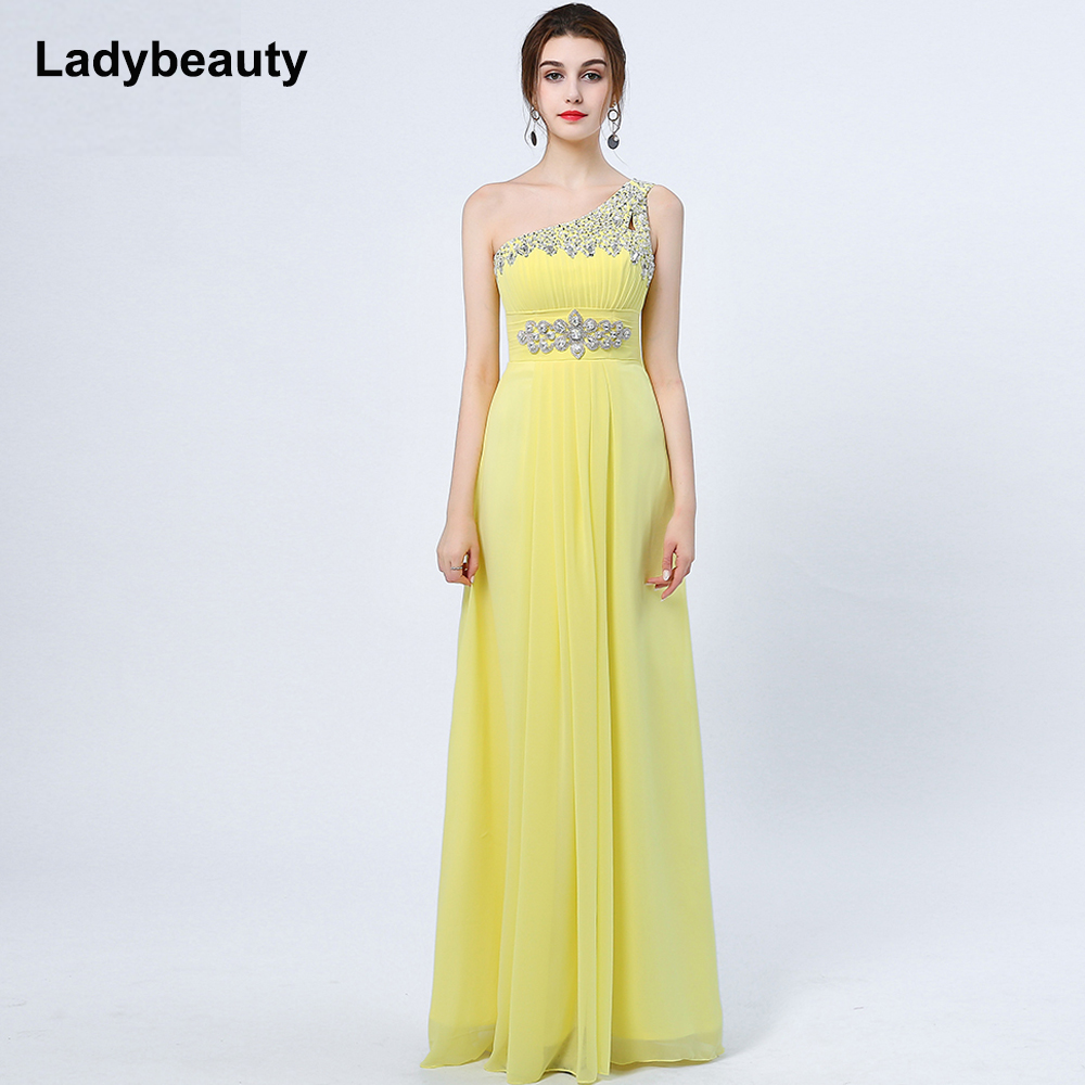Ladybeauty 2018 Baru Elegant Satu Bahu A-Line Gaun Petang Panjang - Gaun acara khas - Foto 4