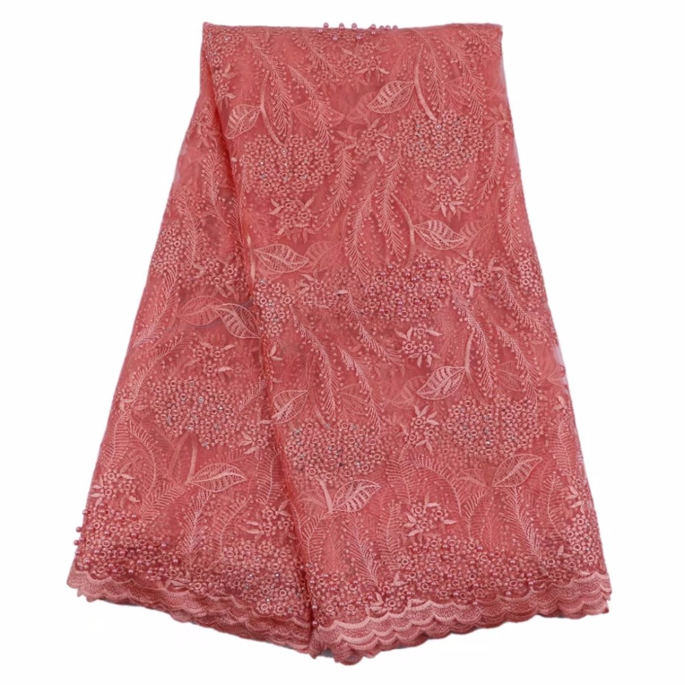 pink french lace fabric with beads and stones mesh tulle high quality nigerian lace fabrics for wedding 2017 5yard/lotHF 24|nigerian lace fabrics|fabric with beadsfrench lace fabric - AliExpress