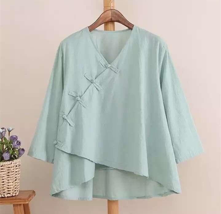 P22 Camisa de Lino Del Verano  Blusas de Las Mujeres Blusas de Algodón Fluido Sh