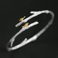 INATURE 925 Sterling Silver Bird on Branch Bracelet Bangles for Women Simple Open Cuff Bangle