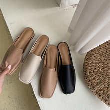 купить Women Mules Summer Slip On Shoes Square Toe Slippers Flats Mid Heel Slippers PU Leather Beach Mules Slides Half Flip Flops дешево