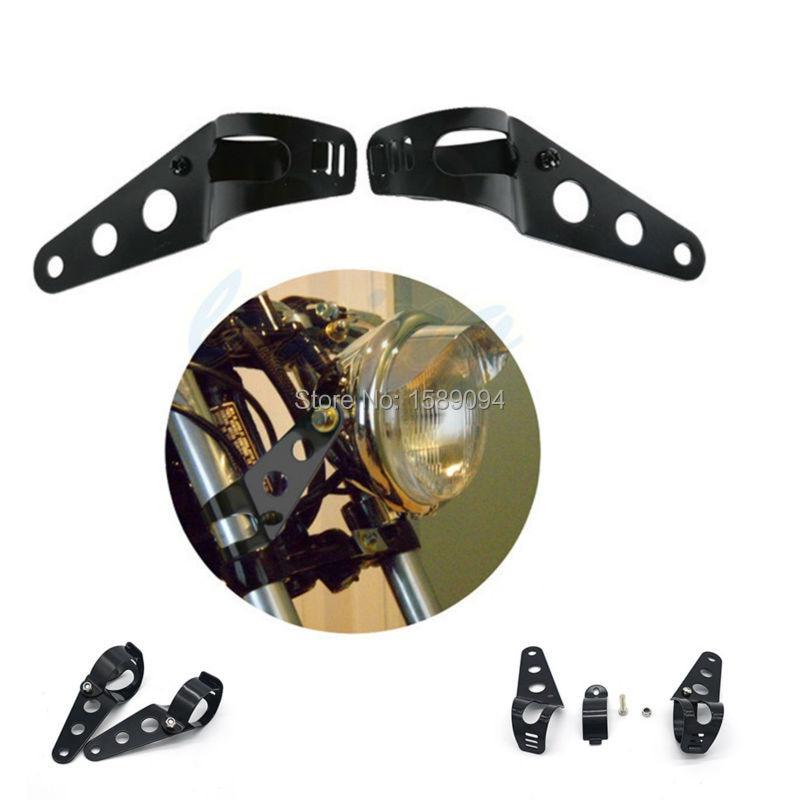 Black Headlight Bracket Adjustable Fork Mount Clamp For Motorcycle Bike Chopper Bobber Cafe Racer With 35~43mm Fork Tubes